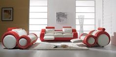 Jersey - Contemporary White and Red Leather Sofa Set - Sofas & Sets - Living Room Contemporary Leather Sofa, White Leather Sofas, Leather Sofa Set, Red Leather, Bonded Leather, Leather Lounge, Contemporary Living Room Furniture, Modern Furniture, Furniture Sets