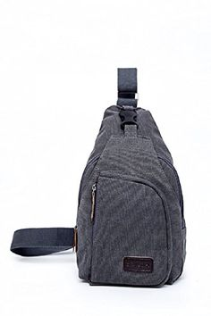 a3d2be7c79ea Saygoer Canvas Sling Bag Unbalance Backpack Men Women for Outdoor Sports  Grey     Click