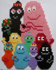 Barbapapa and family in Perler beads