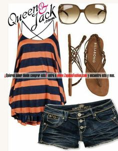 Orange & blue stripes... Summer outfit...