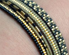 Set of 5 Miyuki beaded bracelets handmade Gold by YRSarmcandy
