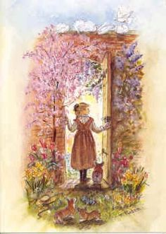 "Tasha Tudor Spring Secret Garden Print Tasha Tudor painted this watercolor image for the Vermont  Flower Show in Burlington March 2001. Particularly cheerful in late winter! Print Size Outside 11""x15 1/2""  Image  9x14 1/2"" No text at bottom. A wonderful theme for Easter--looking forward to the beauty of the garden and spring awakening! Printed in the USA. $25"