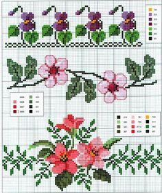 Punto croce - Schemi Gratis e Tutorial: Schemi a punto croce: Cornici e bordi con fiori colorati