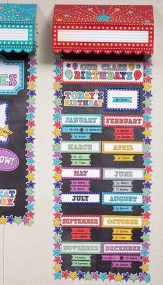 Marquee Our Class Birthdays Mini Bulletin Board - Put their names in lights with this marquee mini bulletin board. The colorful display features a 21 x 6 Our Class Birthdays header piece, as well as a Today's Birthday piece. Birthday Display In Classroom, Stars Classroom, Kindergarten Classroom Decor, Birthday Wall, Classroom Displays, Classroom Themes, Star Themed Classroom, Card Birthday, Birthday Quotes