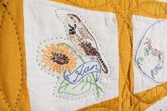 50 State Bird Quilt Pattern   ... Vtg Yellow Quilt Hand Embroidered 50 USA State Birds Blocks   eBay