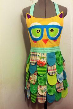 rainbow apron | ... Ship//Seafoam/ NErDY // Rainbow Owl Apron// Neon Kitchen Accessory