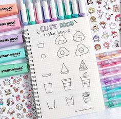 New doodle ideas for your bullet journal 😍 hope you guys like these cute food doodles 🎂 . what's you favorite food? Bullet Journal Banner, Bullet Journal Writing, Bullet Journal Aesthetic, Bullet Journal Notebook, Bullet Journal Ideas Pages, Bullet Journal Inspiration, Mini Drawings, Cute Easy Drawings, Doodle Drawings