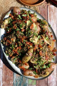 Lentil and Fingerling Potato Salad w/ Warm Bacon Dressing #SundaySupper by @Heather Schmitt-Gonzalez