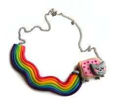 "Nyan Cat Necklace from etsy seller OlechkaDesign.""This necklace is hand-made of polymer. Nyan Cat, Geek Jewelry, Jewelry Necklaces, Fashion Jewelry, Unique Jewelry, Bracelets, Estilo Geek, Gemma Styles, Human Doll"