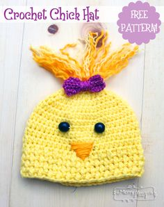 Free Crochet Pattern for an Adorable Chick Hat - Sizes Toddler through Adult