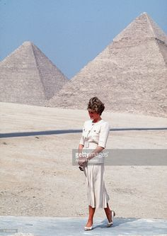 Diana, Princess of Wales shows her lonliness as she poses in this file photo on May 12, 1992 at the Pyramids in Giza, Egypt. A recording of the Princess talking frankly about her relationships with the Royal Family has been aired on NBC in the US, with a second installment due to be shown next week. In the airing, recorded in 1992, the Princess critics Prince Charles for his conduct during their ill-fated marriage.