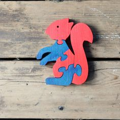 Vintage Wood Squirrel Puzzle / Modern Folk, Wood, Waldorf.