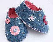 Felt baby shoes, ladybird, handmade. $45.00, via Etsy.