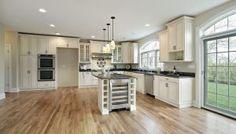 Open Plan Kitchen with Antique White Kitchen Cabinets Layout Design, Küchen Design, Interior Design, Design Ideas, Antique Kitchen Cabinets, Kitchen Cabinet Design, Kitchen Decor, Antique White Kitchens, Kitchen Ideas