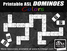 Printable ASL Dominoes - Learn Sign Language Signs with this Dominoes game.