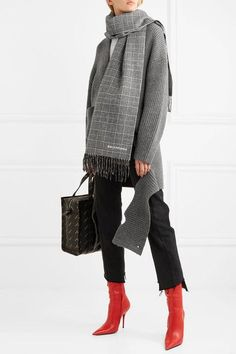 BALENCIAGA sophisticated Prince of Wales checked wool and cashmere-blend scarf