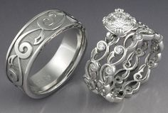 20 New Ideas For Wedding Rings Western White Gold Western Wedding Rings, Wedding Ring Sets Unique, Celtic Wedding Rings, Wedding Ring Designs, Wedding Rings For Women, Wedding Jewelry, Trendy Wedding, Wedding Sets, Cute Engagement Rings