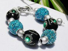 Bracelet black turquoise Artisan crystal pace by ElmsRealm on Etsy, $18.00