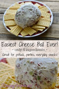 This easy cheese ball recipe has a big wow factor when taken to potlucks, parties, or even just eaten at a snack at home! 4 ingredients is all you need! Large Family Meals, Big Meals, Quick Meals, Canned Meat, Cheese Ball Recipes, Easy Cheese, Balls Recipe, Potlucks, Appetizer Dips