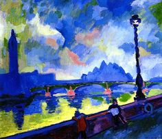 1906-The Thames, Westminster Bridge. Andre Derain (1880-1954) French painter, sculptor, illustrator, stage designer and collector. He was a leading exponent of Fauvism. In early 1908 he destroyed most of his work to concentrate on tightly constructed landscape paintings, which were a subtle investigation of the work of Cézanne. After World War I his work became more classical, influenced by the work of such artists as Camille Corot.