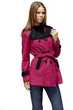 Fuchsia Two Tone Long Sleeve Collar Button Down Peacoat Coats For Women, Button Downs, Buttons, Long Sleeve, Sleeves, Jackets, Shopping, Amazon, Fashion