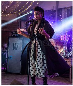 Black Silk Taffeta Coat worn over Chiffon 'Cat Print' Dress