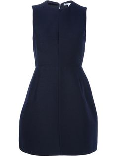 Navy sleeveless dress from Carve featuring a nipped in waist, round neck, voluminous skirt, rear exposed zip fastening with multicoloured pattern trim and trim on the rear to the waist.