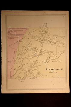 Hazardville Connecticut Map Antique Historic Colonel Hazard