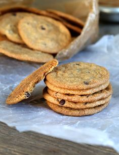 Can you tell how crisp and light these gluten free chocolate chip cookie chips are? They're just under 2-inches in diameter (about the size of an Oreo cookie), thin as a wisp, and I dare you to eat ju