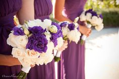 Purple and Off White Bridesmaid Bouquets