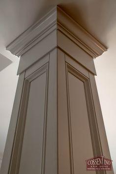 Custom trimmed column hiding an ugly support beam. Wood Columns, Porch Columns, Interior Columns, Interior Trim, Interior Design, Moldings And Trim, Moulding, Pillar Design, House Trim