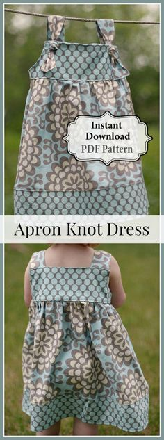 Apron Knot Dress Sewing PDF Pattern Sizes 3m - Girls 8 INSTANT DOWNLOAD #sewing #sewingpattern #pattern #ad #dress #diy