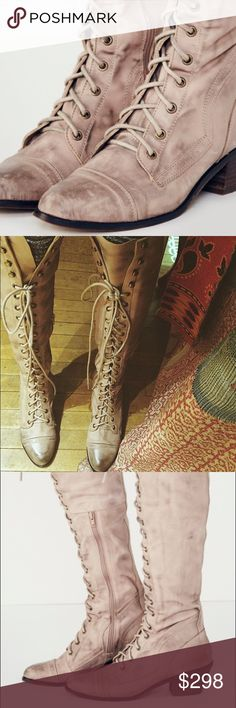 Jeffrey Campbell x Free People Joe Lace up Boot Beautiful leather Knee High Lace up Boot Perfect for fall weather exclusively sold at Free People Stacked one inch heel. Free People Shoes Lace Up Boots