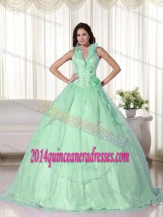Apple Green Halter Top Chiffon Beaded Quinceanera Dresses with Embroidery