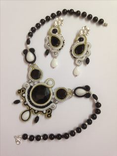 Soutache necklace and earrings