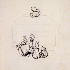 Beatrix Potter, design for the back cover of Peter Rabbits Painting Book, 1911