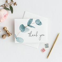 Thank You Card Eukalyptus Greenery danke Karte Hochzeit danke Karte Thank You Card Design, Thank You Card Template, Thank You Card Size, Cute Thank You Cards, Thank You Messages, Diy Cards, Your Cards, Handmade Cards, Wedding Thank You Cards