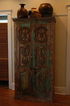 "This old door Indian cabinet we found in India.  Part of my ""personal collection"".  www.discoveries.LA.com"