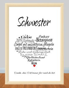 : ** G 244 ** print, motif: ** SISTER ** Her .- Item number: ** G 244 ** print, motif: ** SISTER ** Heart _Because the SISTER is simply the BEST;) _ This print is a great gift for your sister for her birthday, … Birthday Presents For Girlfriend, Diy Gifts For Dad, Gifts For Your Sister, Diy Gifts For Friends, Presents For Boyfriend, Birthday Gifts For Girlfriend, Diy Presents, Sister Birthday, Boyfriend Birthday