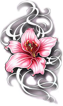 d218f956cbae9 Pink Lily Orchid Flower with Swirls Watercolor Tattoo Art Design Idea.