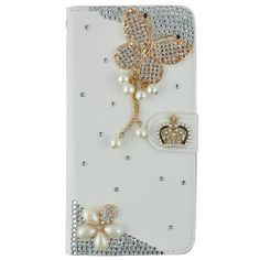 Moto G Case, JCmax Premium Flip 3D Bling Crystal Diamond PU Leather Wallet Case [Kickstand] Protective Anti-Scratch Cover Built in Card Holder For Moto G -Diamond Butterfly