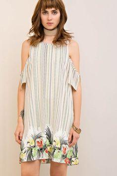 Tropical Border Print Open Shoulder Dress