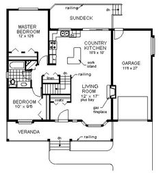 Ranch Style House Plan 98847 with 2 Bed, 1 Bath, 1 Car Garage Ranch House Plans, Best House Plans, Country House Plans, Small House Plans, Veranda Railing, I Love House, Open Space Living, Dome House, Cabin Plans