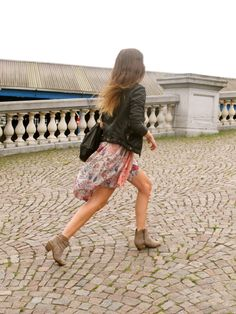 Airy dress+ ankle boots and a leather jacket for spring