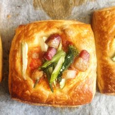Bacon Lardon Danish with Asparagus and Kale Buds. by frysbakery