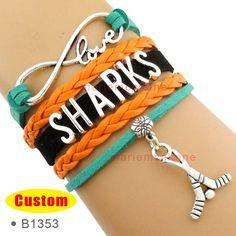 Go sharks go! Infinity Love San Jose Hockey Player Bracelet Sharks Ice Hockey Bracelet Teal Black Orange Multilayer Bracelet