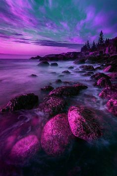 """Yosemite Valley at Night, national park in USA"" shades of pink and purple and the blueish green sky, awesome (photoshopped? Purple Love, All Things Purple, Purple Rain, Shades Of Purple, Purple Sunset, Pink, Purple Beach, Lilac, Magenta"
