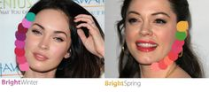 The difference between two dark haired Bright season celebrities: Megan Fox and Rose McGowan. Both look terrific in bright colors with high chroma, but while Megan looks her best in cool hues, Rose is more flattered by warmer hues. This has to do with the undertone of the skin. Megan has cool, almost translucent skin, while Rose has a warmer tone to her complexion.