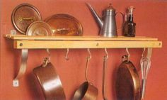 """Wall Mount Pot Rack - Sugar Maple & Nickel by J.K. Adams by The Storage Store. $120.00. Installation hardware included. Size: 11""""tall x 36""""wide x 8""""deep. Slatted 6"""" wide shelf for extra storage. Solid sugar maple frame with nickel brackets. Crafted from solid New England Sugar Maple and accented with nickel brackets, the Wall Pot Rack has a slatted 6"""" wide shelf for storing lids on edge or holding books and other essentials. Brackets may be assembled to support the rack f..."""