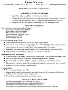 combination resume sample customer service rep - Free Customer Service Resume Templates